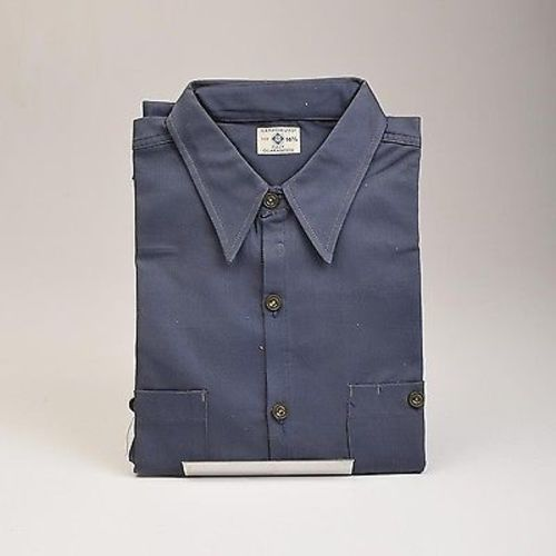 1940s Men's Blue Rock Navy Blue Sanforized Work Wear Shirt