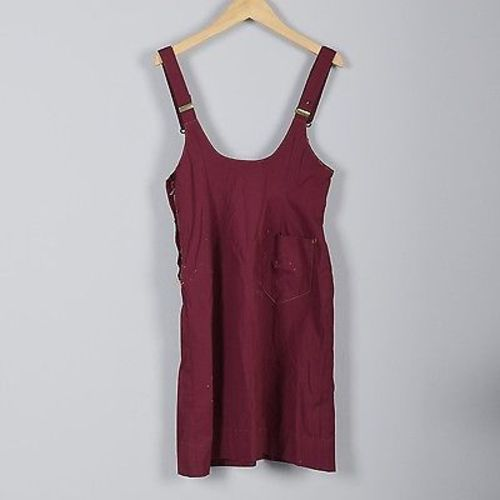 VTG 50s Maroon Jumper Dress Mid Century Overall Shoulder Straps Summer