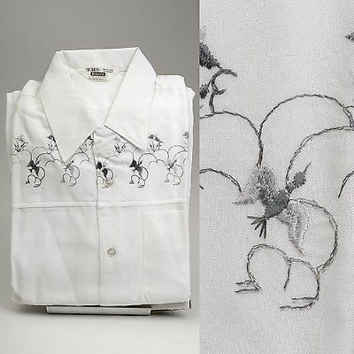 1950s Mens Deadstock White Shirt with Embroidered Birds