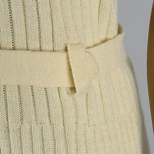 1970s Men's Mod Ribbed Knit Belted Sweater Vest in Cream