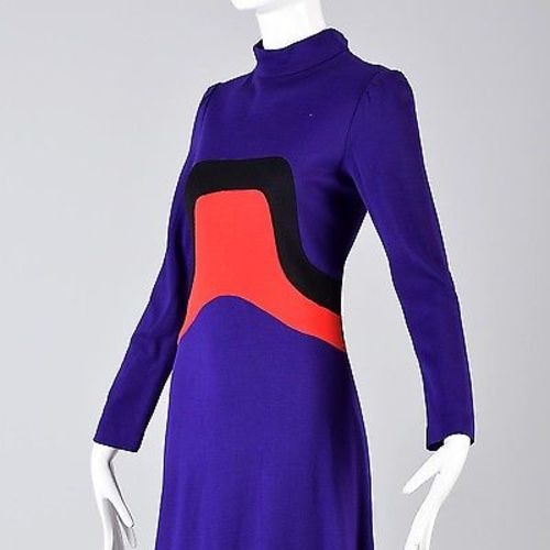 1960s Iconic Space Age Mod Long Sleeve Maxi Dress in Bright Purple Knit