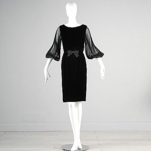 1960s Little Black Velvet Wiggle Dress with Dramatic  Sleeves
