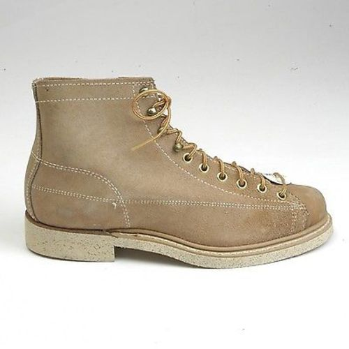 1960s Mens Tan Leather Split Hide Work Boots