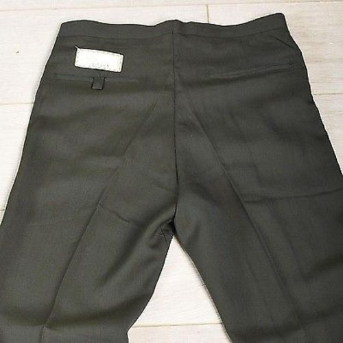 29x28 Deadstock 1960s Men's Green Sharkskin Pants with Leather Trim Pockets
