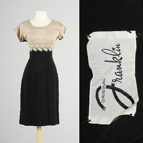 1950s Tan and Black Wiggle Dress with Rhinestone Applique