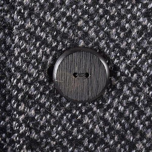1960s Men's Mod Gray & Black Nubby Tweed Overcoat with Plaid Lining
