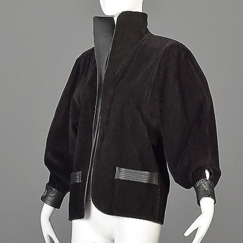 Avant Garde Jean Muir Black Leather Jacket with Bishop Sleeves