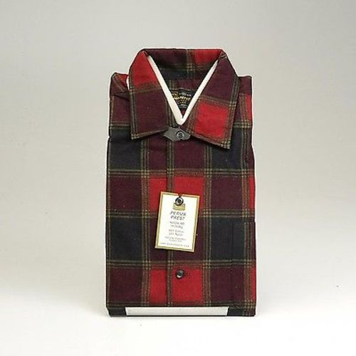 1960s Mens Deadstock Red Flannel Shadow Plaid Shirt