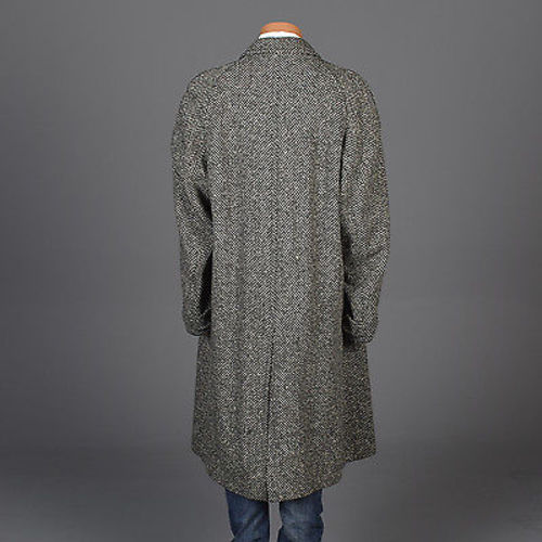 1950 Men's Irish Tweed Overcoat in Black & White Herringbone
