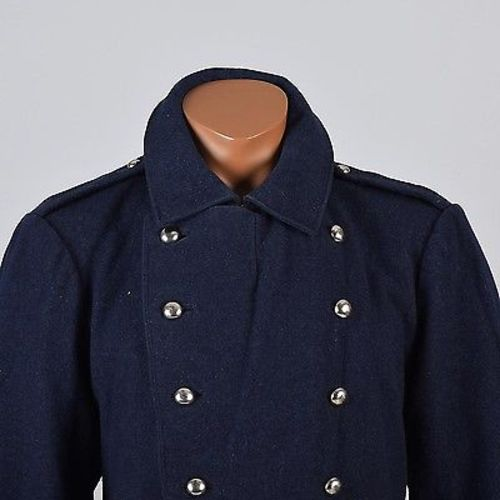 1911 Men's Navy Blue Wool Winter Military Overcoat, Double Breasted