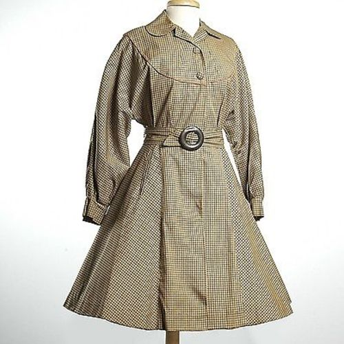 1950s Belted Gabardine Trench Coat Dress