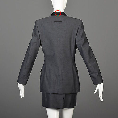 1990s Jean Paul Gaultier Classique Black Mini Skirt Suit with a Tuxedo Style Jacket