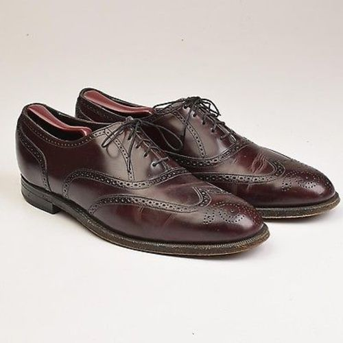 1980s Mens Leather Wingtip Oxford Shoes