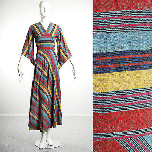1970s Striped Bohemian Maxi Dress with Angel Sleeve