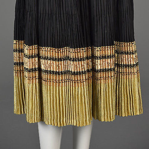 1950s Black & Gold Patio Set with a Pleated Full Circle & Matching Blouse