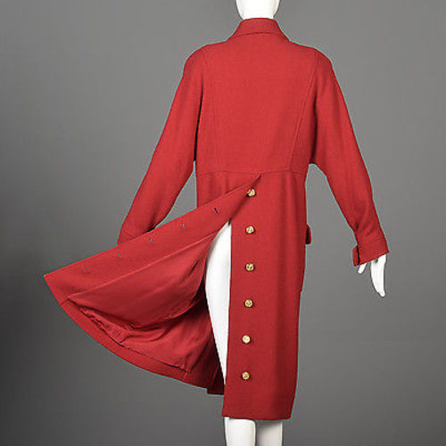 1980s Chanel Boutique Bright Red Silk & Wool Coat