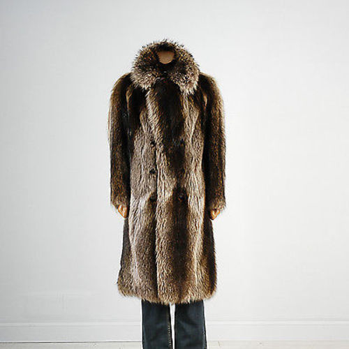 1970s Luxurious Men's Raccoon Fur Coat Thick Shiny & Soft