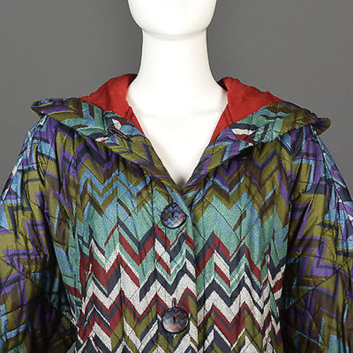 Missoni Colorful Print Oversized Quilted Rain Coat with Hood