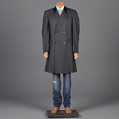 1950s Men's Gray Wool Coat with Velvet Collar