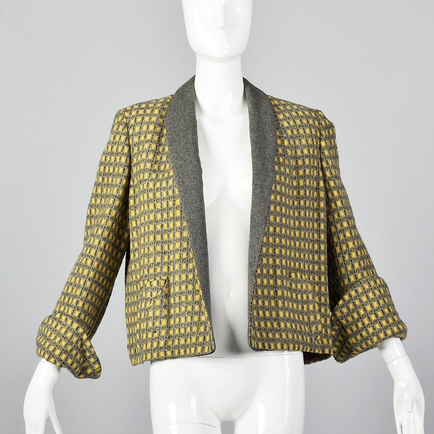 1940s Yellow and Gray Tweed Swing Jacket