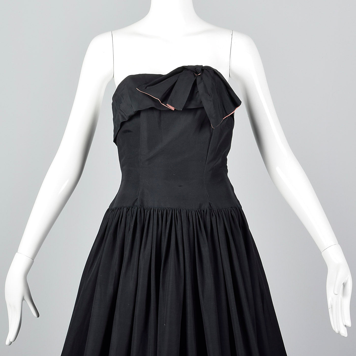 1940s Strapless Black Party Dress