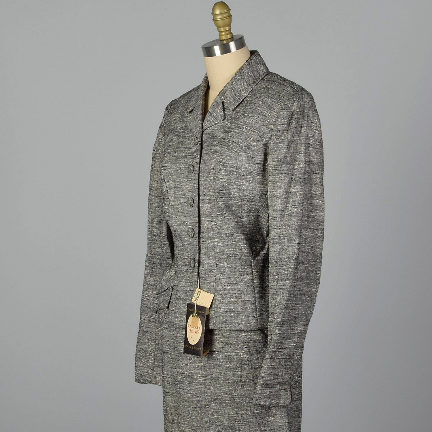 1950s Deadstock Atomic Fleck Gray Skirt Suit