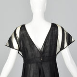 Fendi Linen Dress with Vinyl Sleeves & Split Skirt