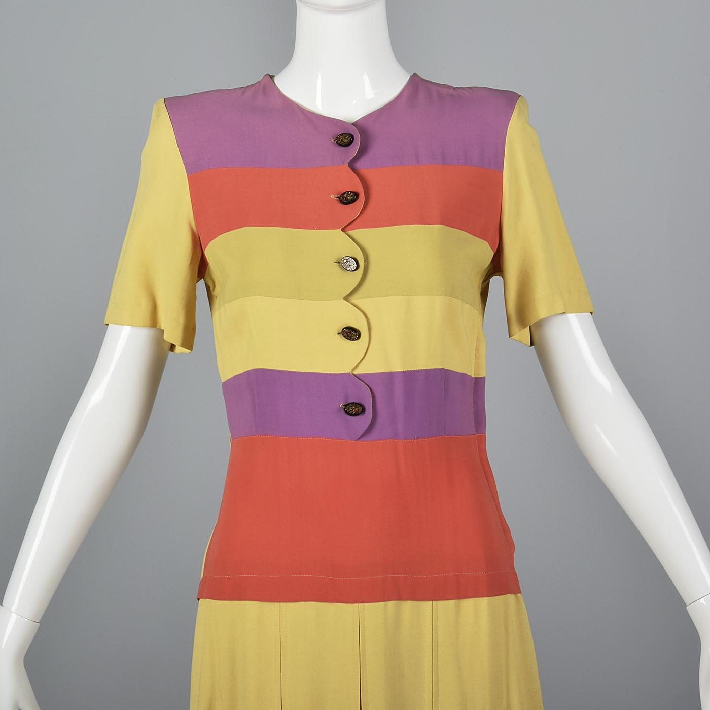 1930s Yellow Rayon Day Dress with Striped Bodice