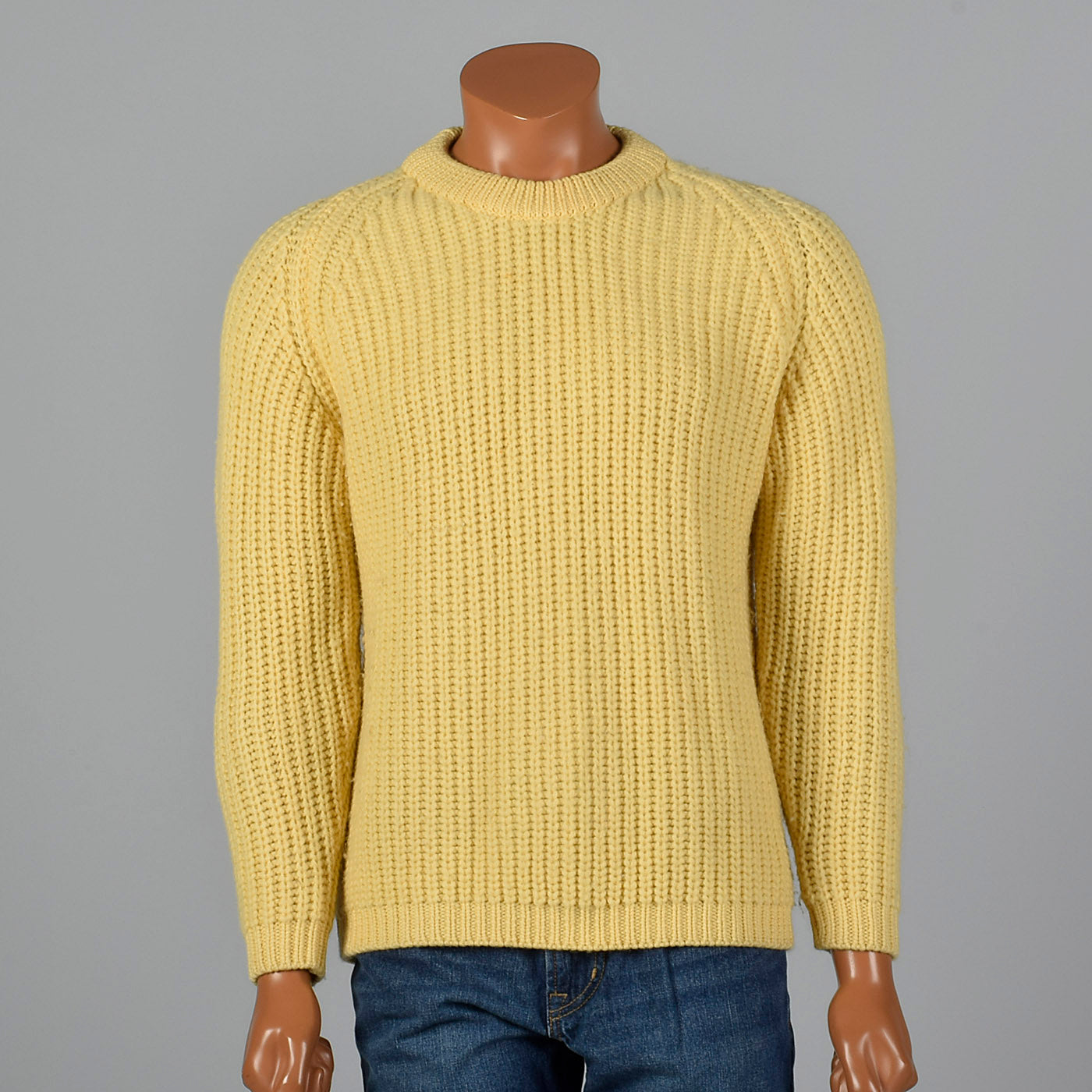 1960s Mens Yellow Chunky Knit Wool Sweater