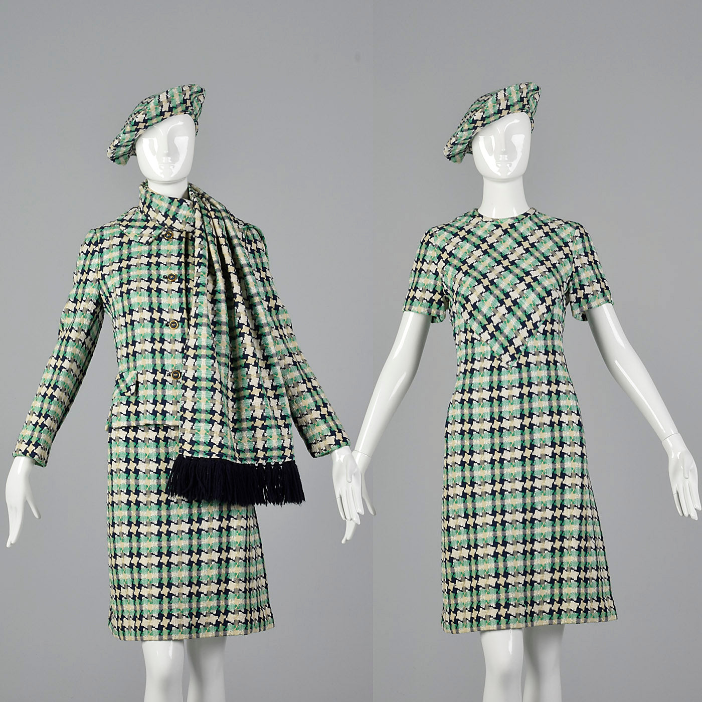 1960s I. Magnin Tweed Dress with Matching Jacket, Scarf, and Beret