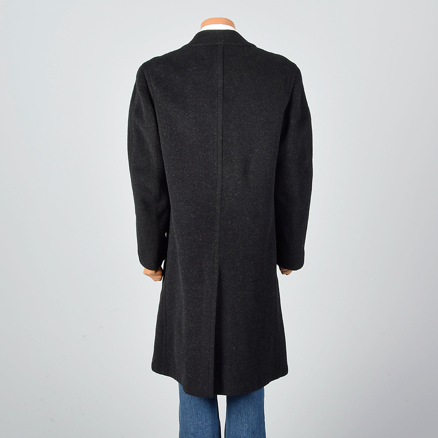 1940s Mens Black Mohair Overcoat