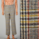 Small 1960s Mens Plaid Wool Pants Flat Front Straight Leg Short