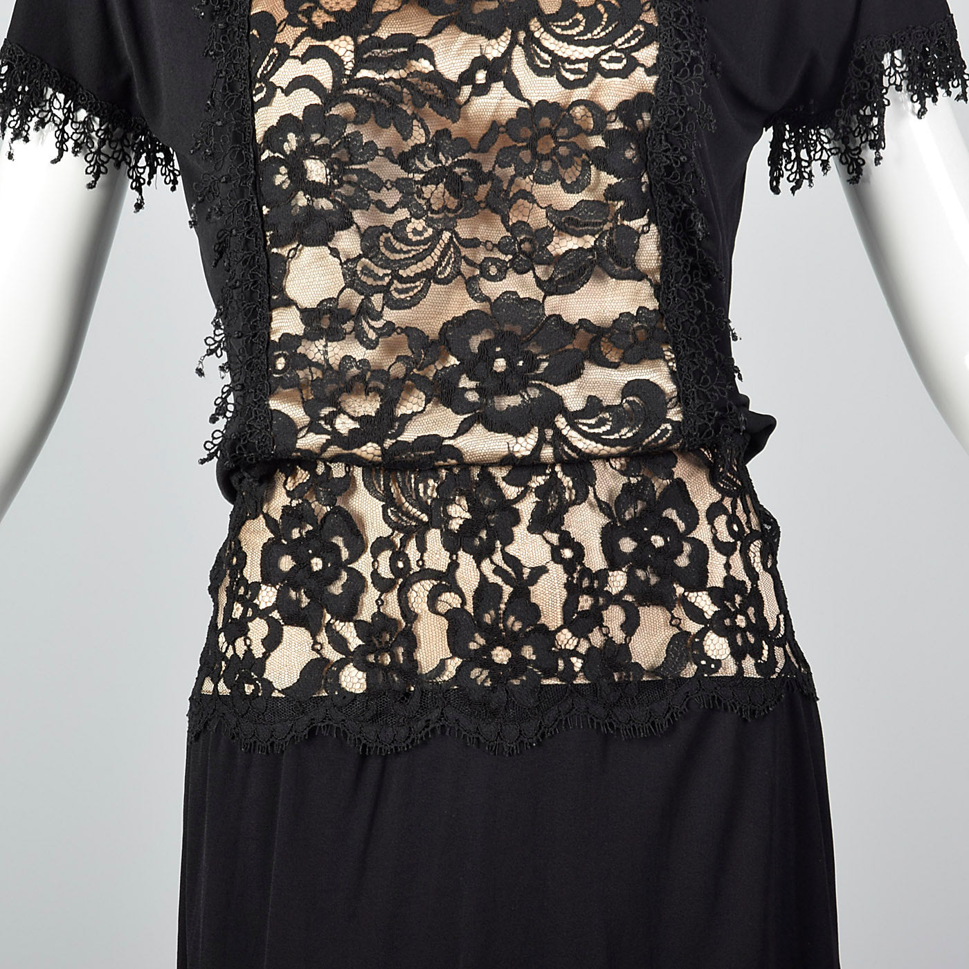 1980s Black Dress with Illusion Lace