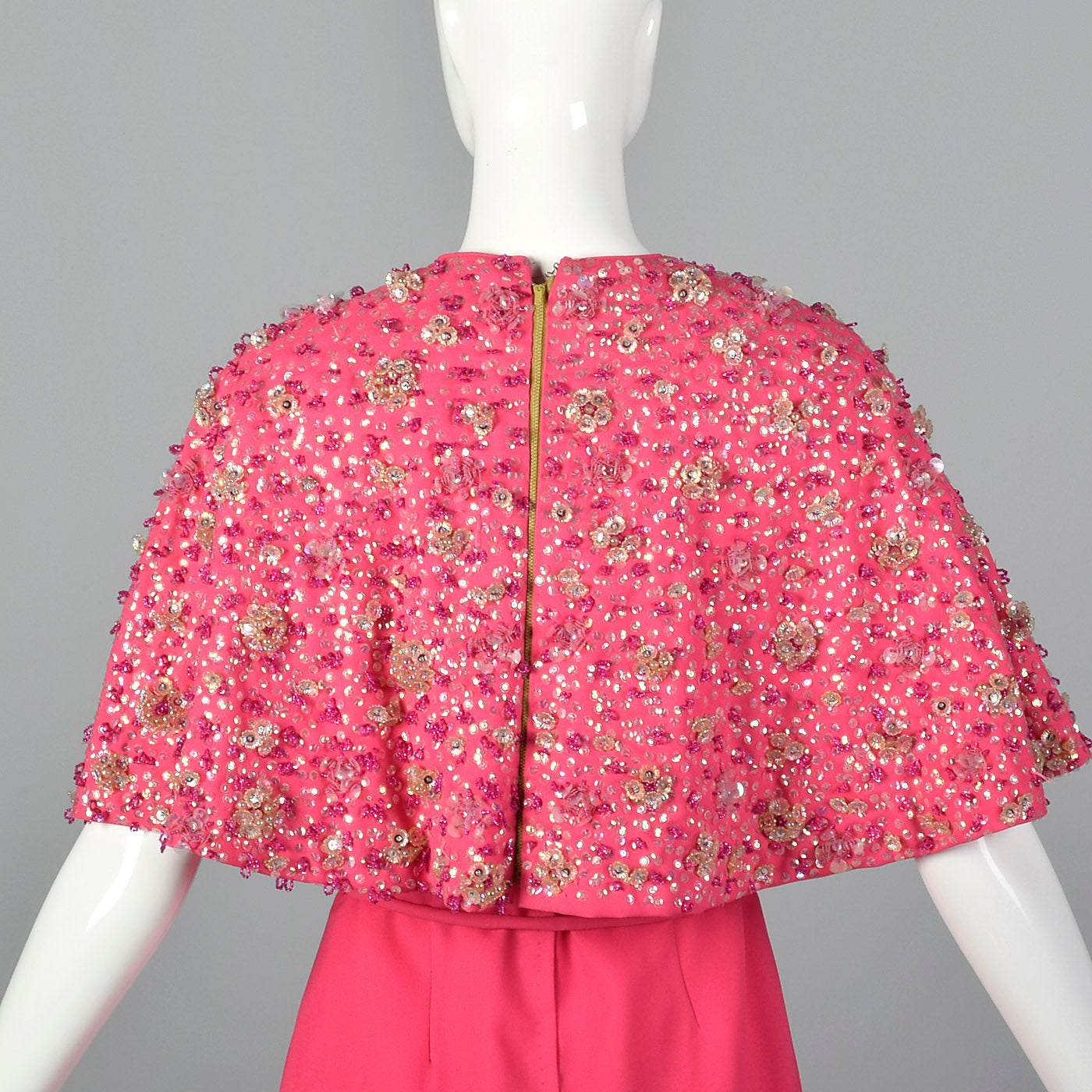 1960s Pink Dress with Matching Beaded Cape