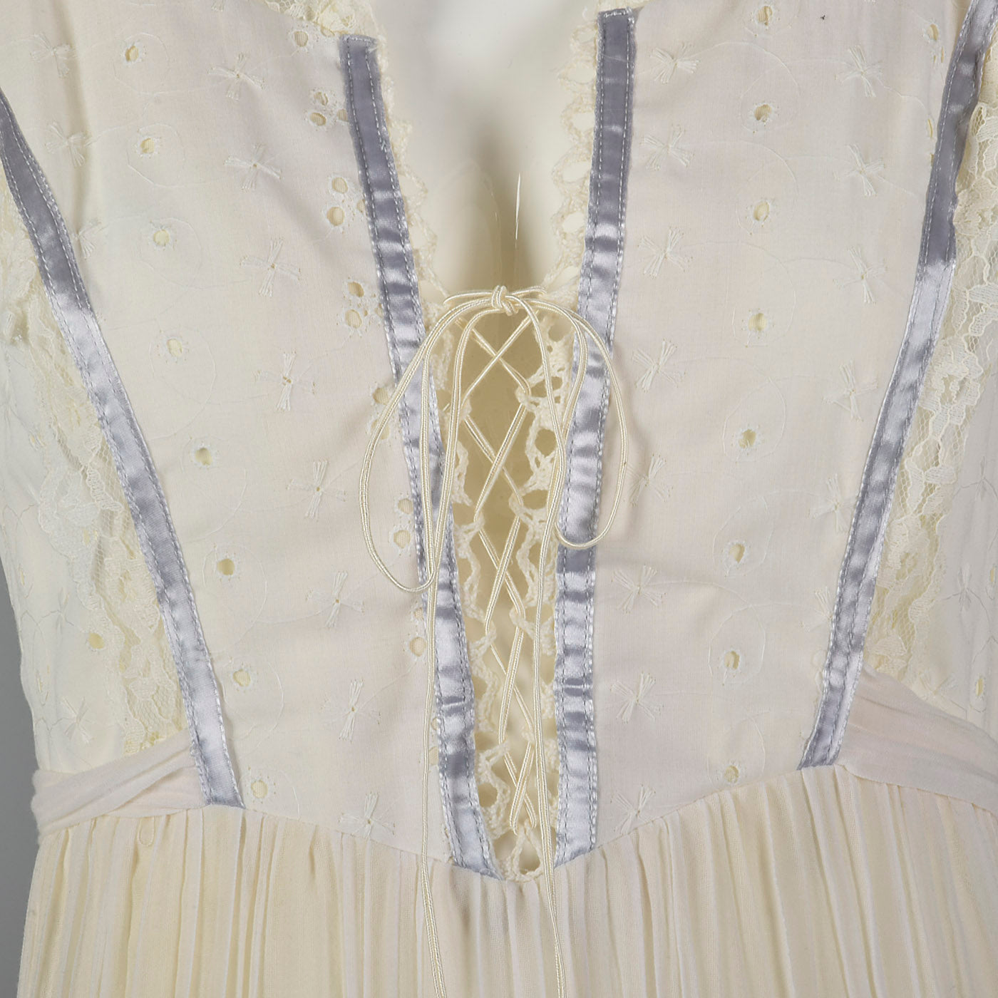 1970s Bohemian Dress with Laced Corset Bodice