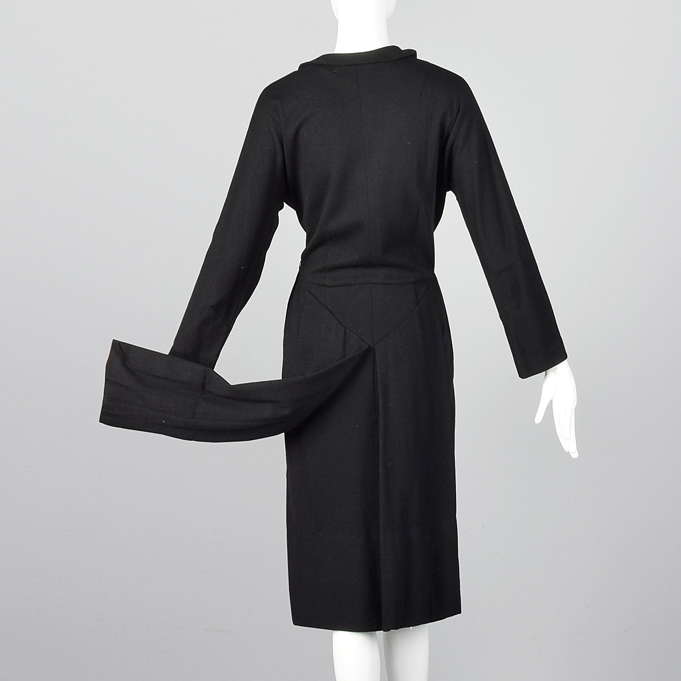 1940s Black Knit Dress with Tails