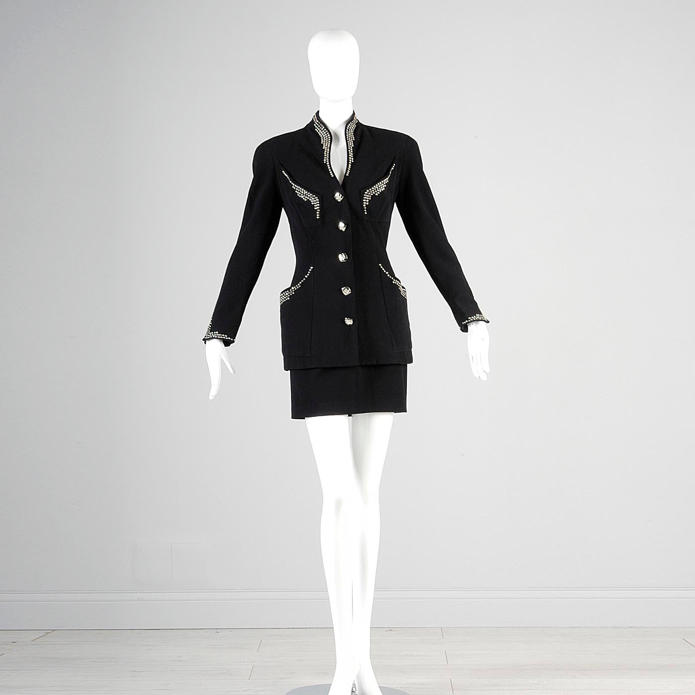 1990s Tadashi Curvy Black Skirt Suit with Silver Studs