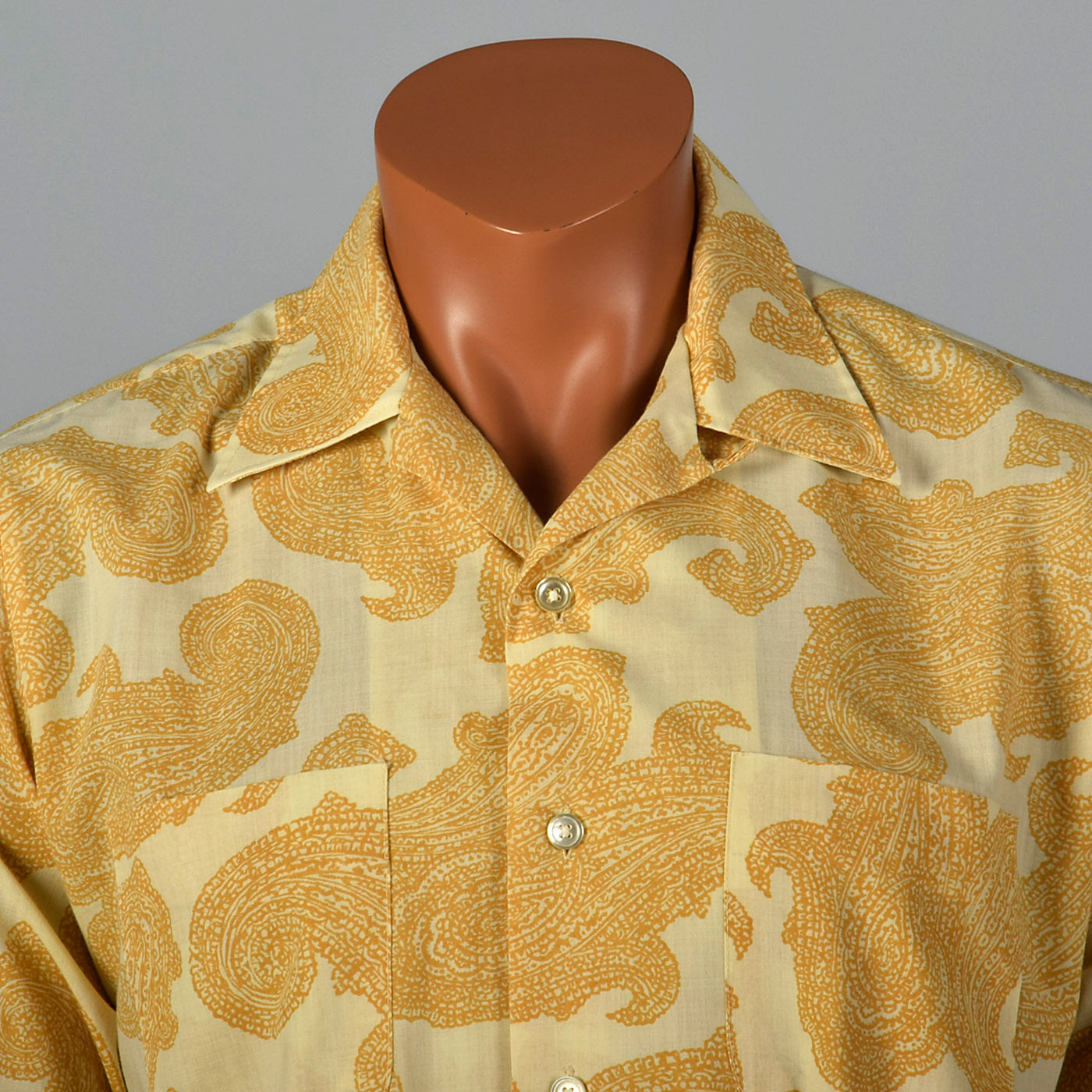1960s Mens Bohemian Shirt in Paisley Print