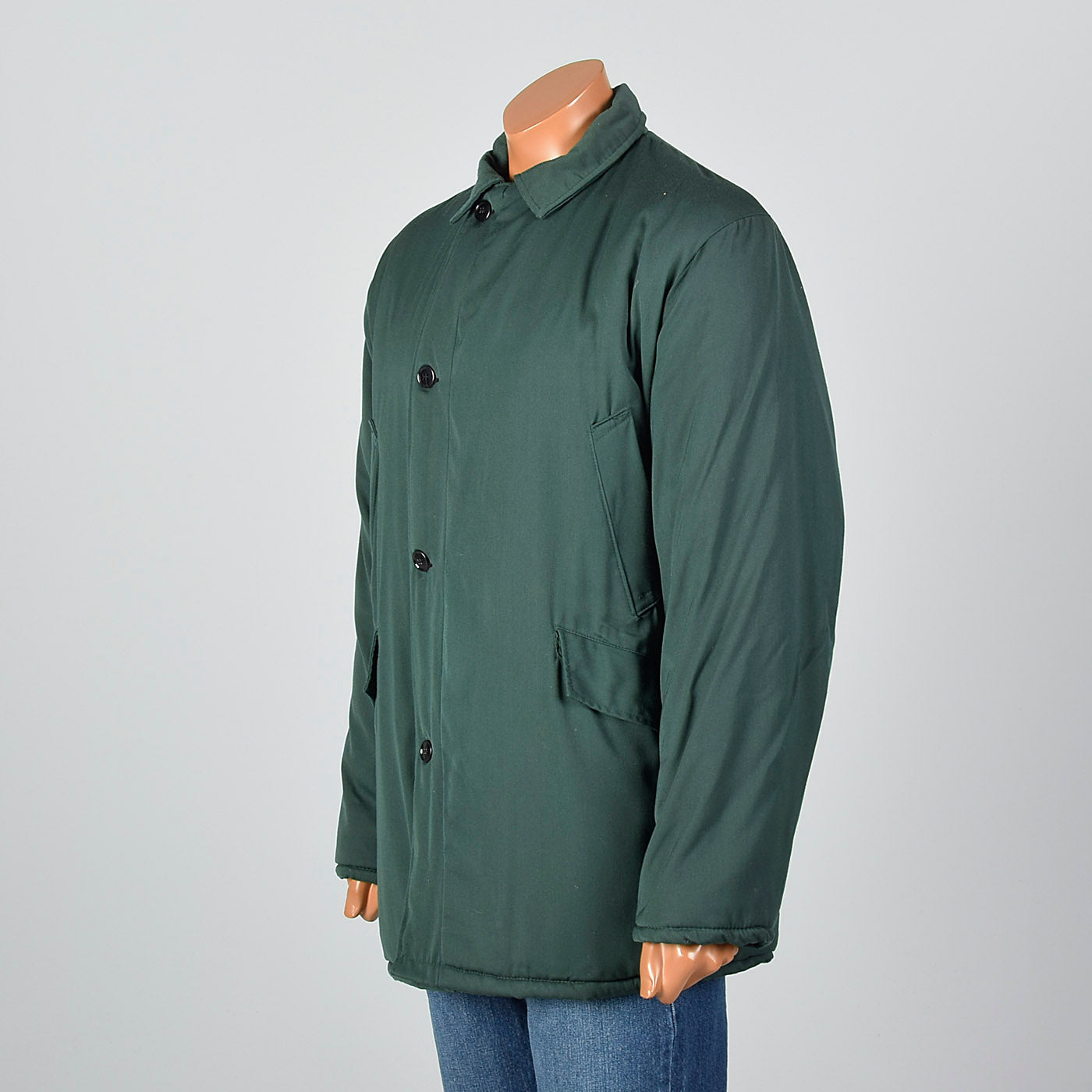 1960s Mens Green Gabardine Work Coat