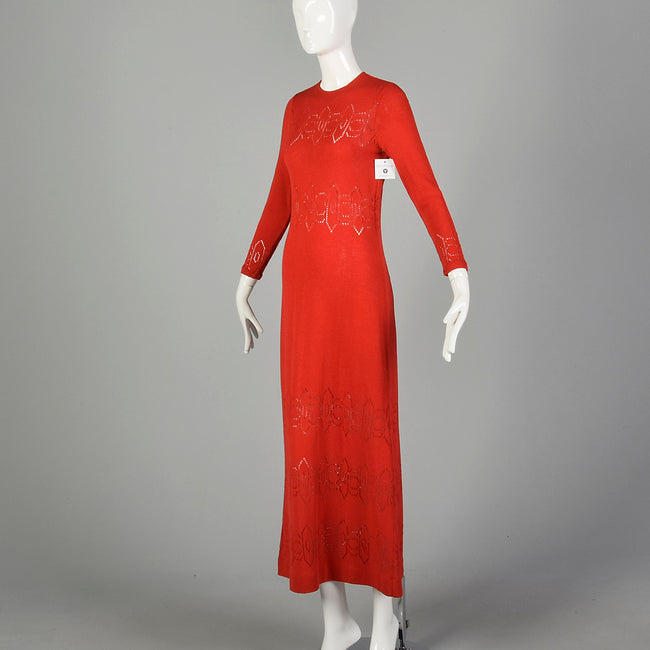 Small 1970s Dress Pat Sandler Red Knit Maxi Long Sleeve Sheer Decorative Details Knit