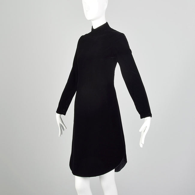 1960s Space Age Mod Black Velvet Mini Dress Attributed to Pierre Cardin