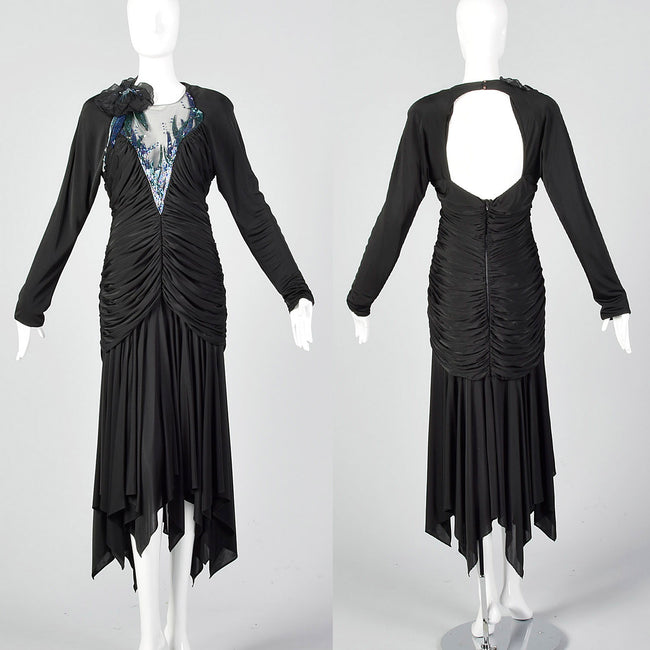 1980s Casadei Black Beaded Dress