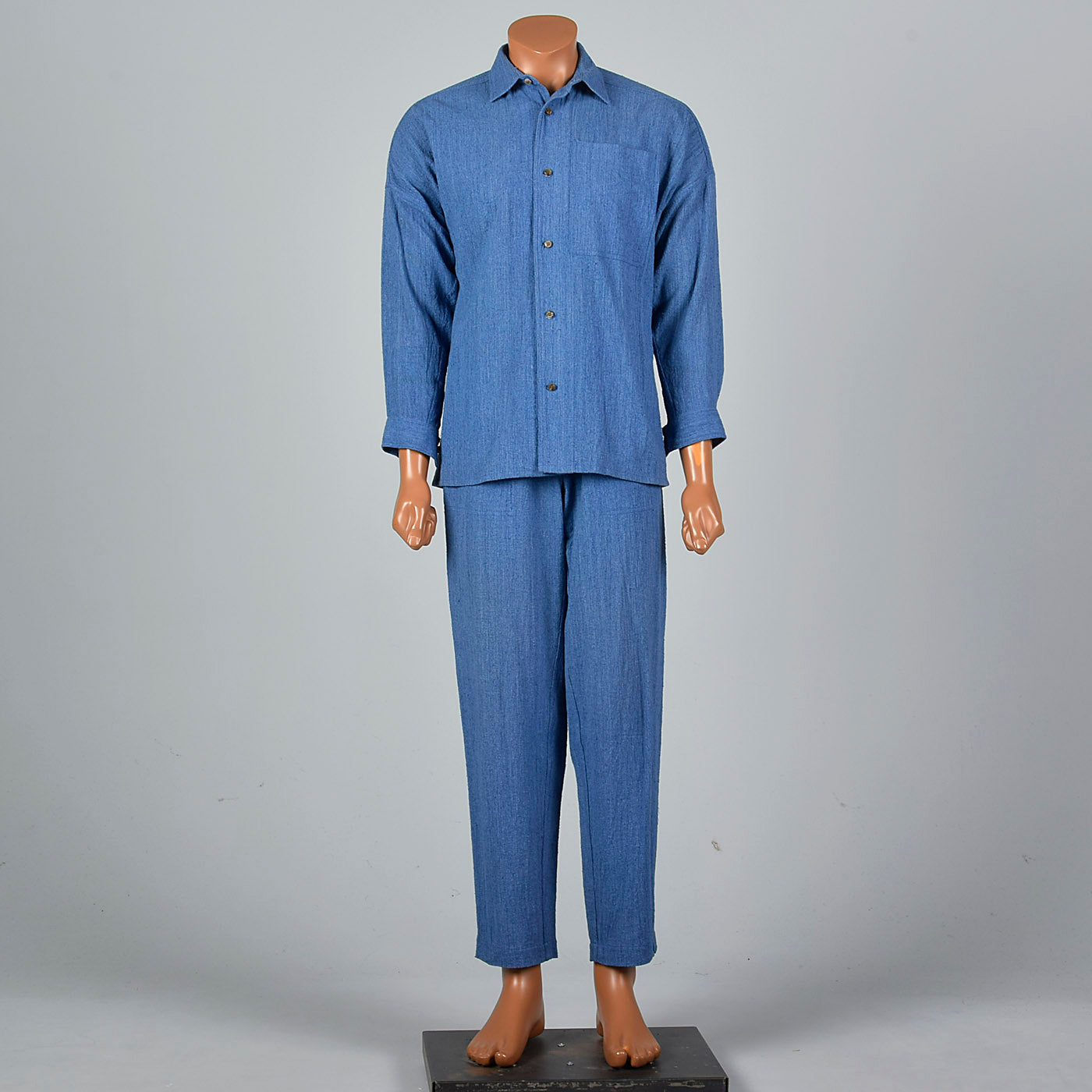 1990s Mens Issey Miyake Plantation Two Piece Chambray Suit