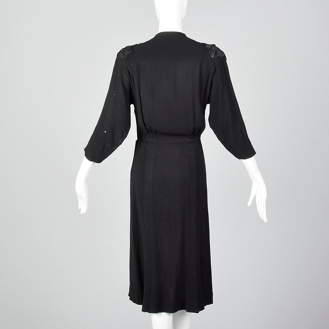 1940s Black Dress with Three Dimensional Applique and Soutache