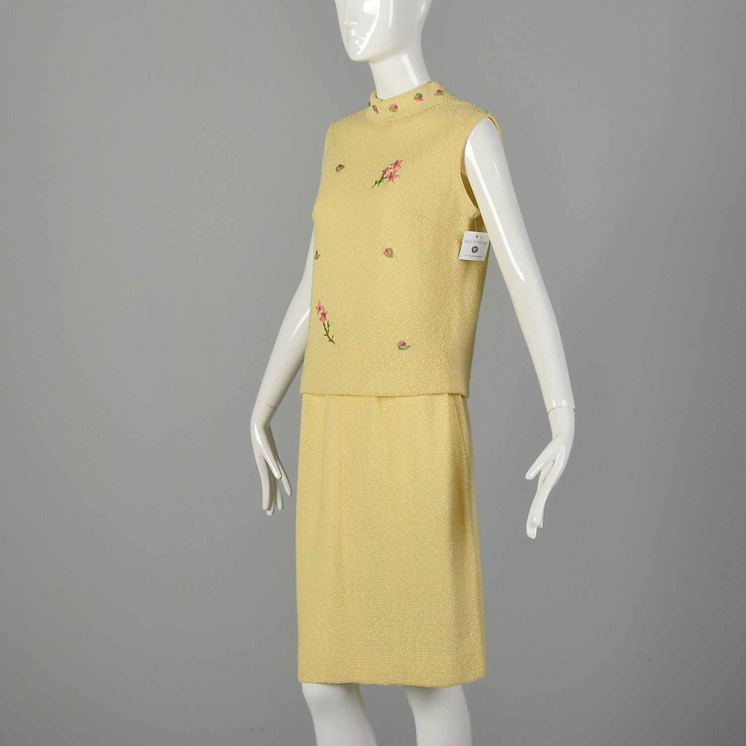 Medium 1960s Yellow Knit Outfit Sleeveless Top and Skirt