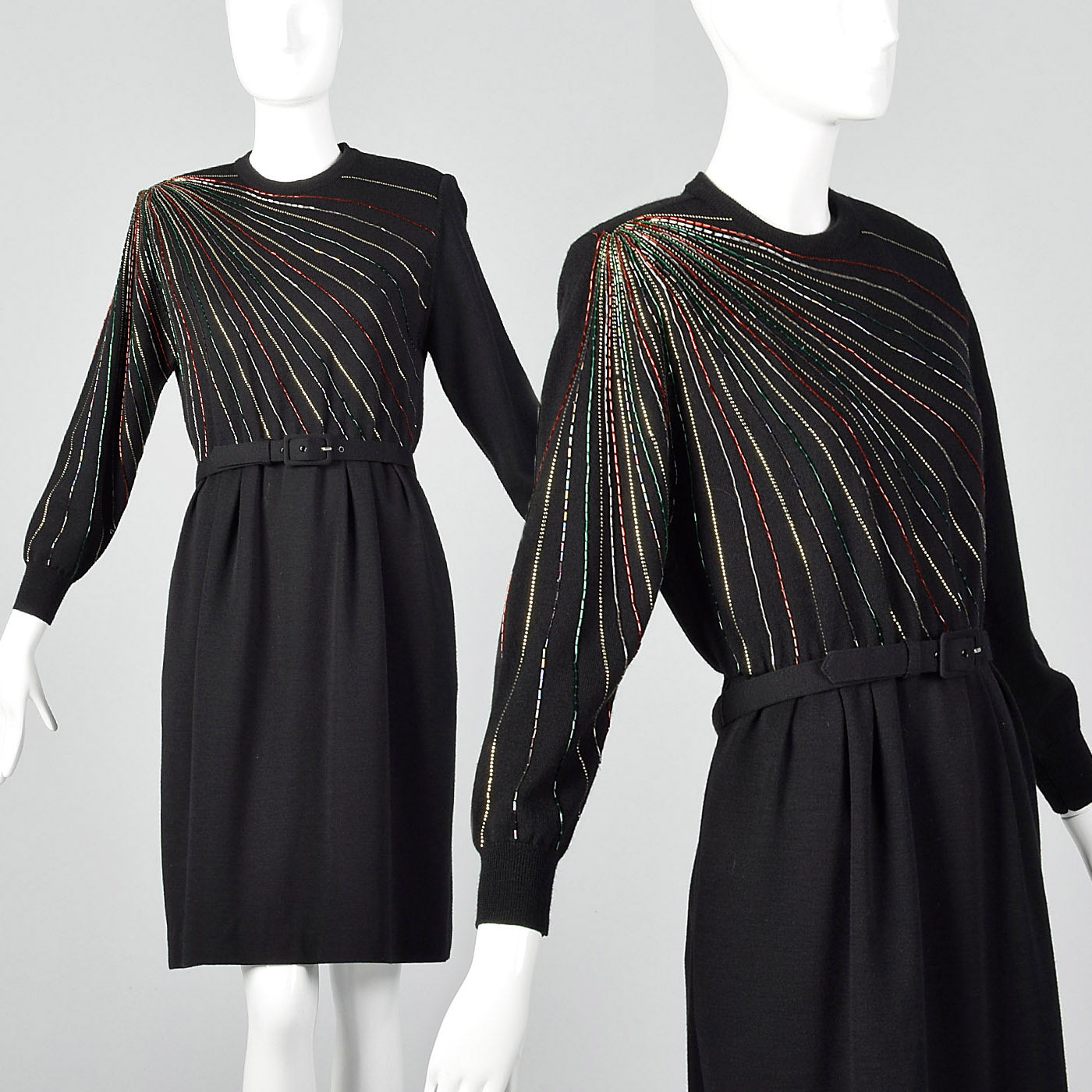 1980s Black Beaded Sweater Dress