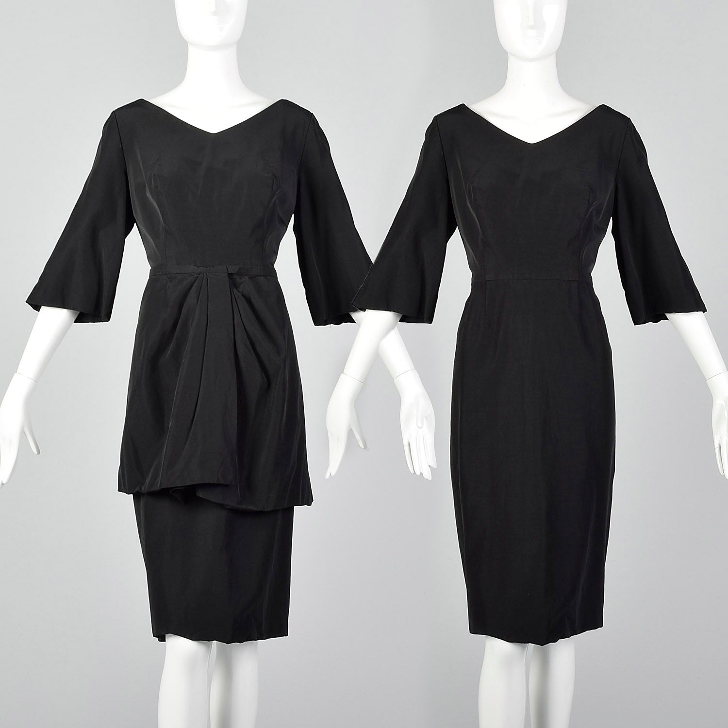 Large 1950s Black Dress and Overskirt