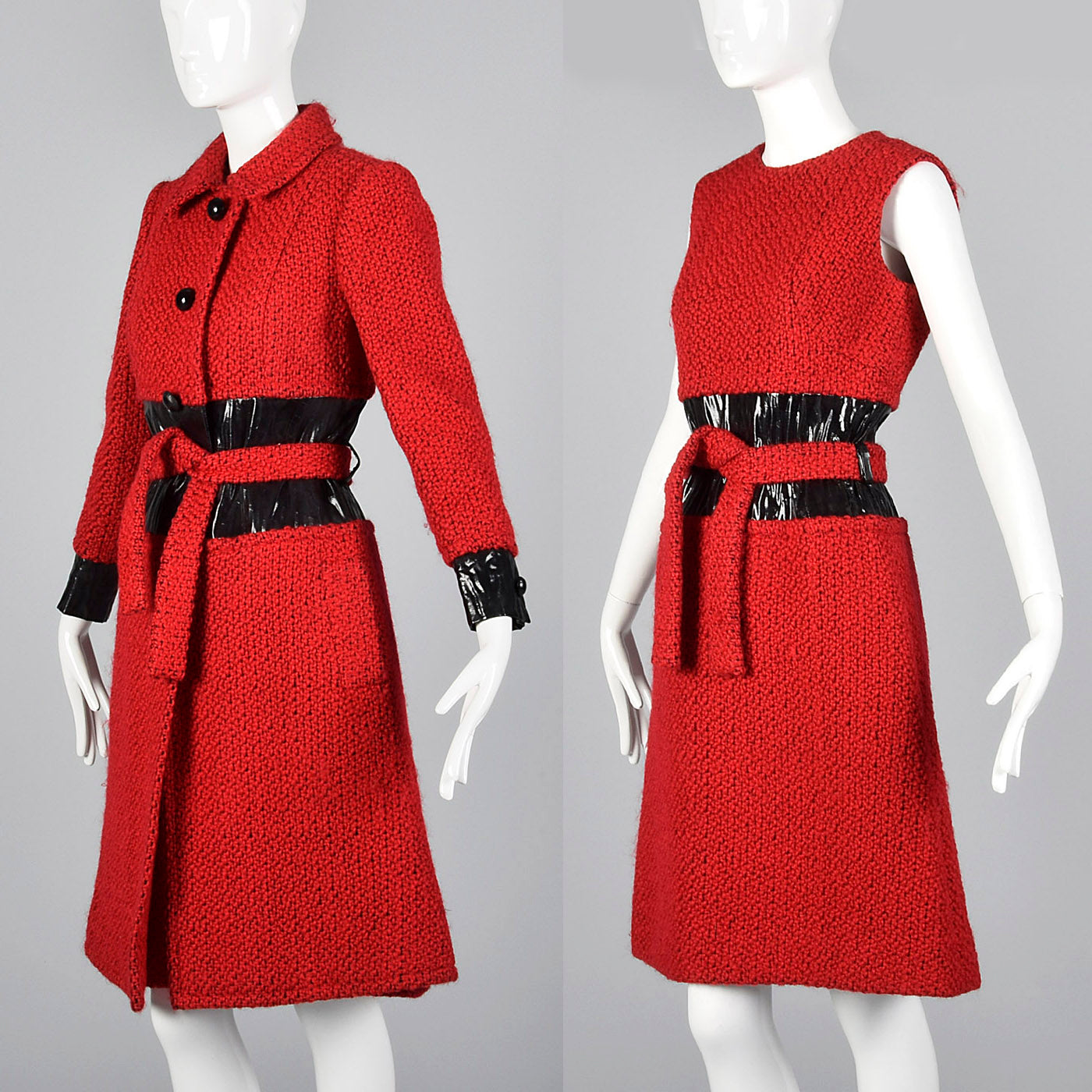 1960s Via Veneto Couture Boutique Red Tweed Space Age Dress & Coat Set