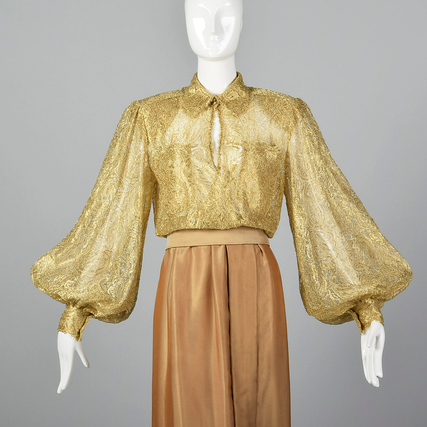 1970s Gold Maxi Dress with Bishop Sleeves