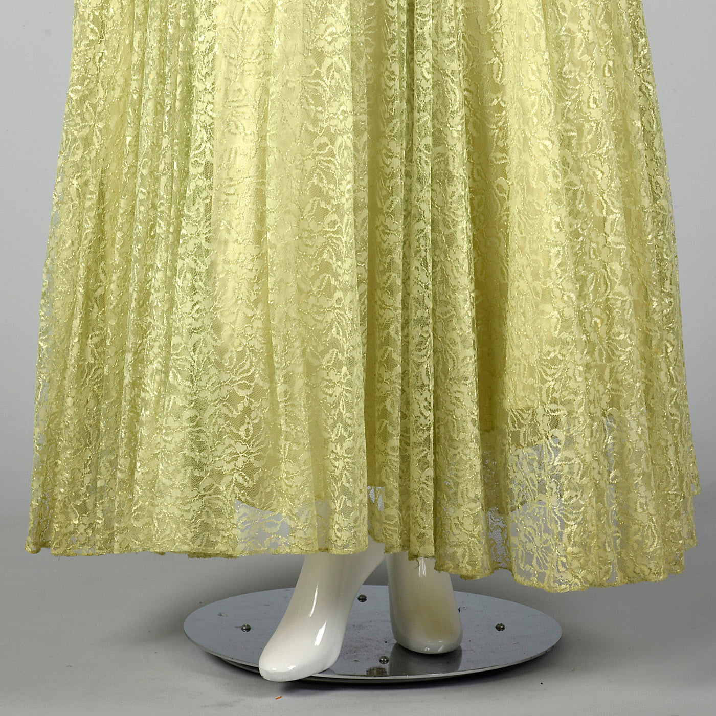 1950s Green Lace Evening Dress